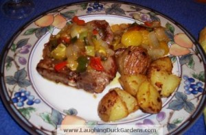 pork chops with pepper tomatillo sauce