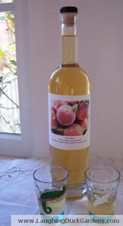 Bottle of Homemade Peach Liqueur