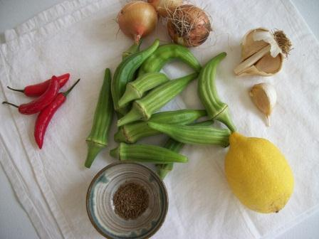 ingredients for spicy okra