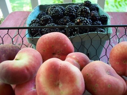 flat peach & blackberries