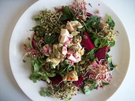 A big salad of mache, sprouts, homemade pickled beets, diced chicken. Fast food at its best.